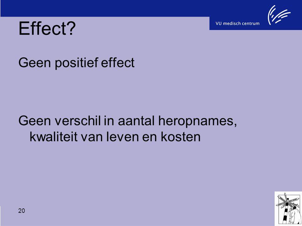 20 Effect? Geen positief effect Geen verschil in aantal heropnames, kwaliteit van leven en kosten