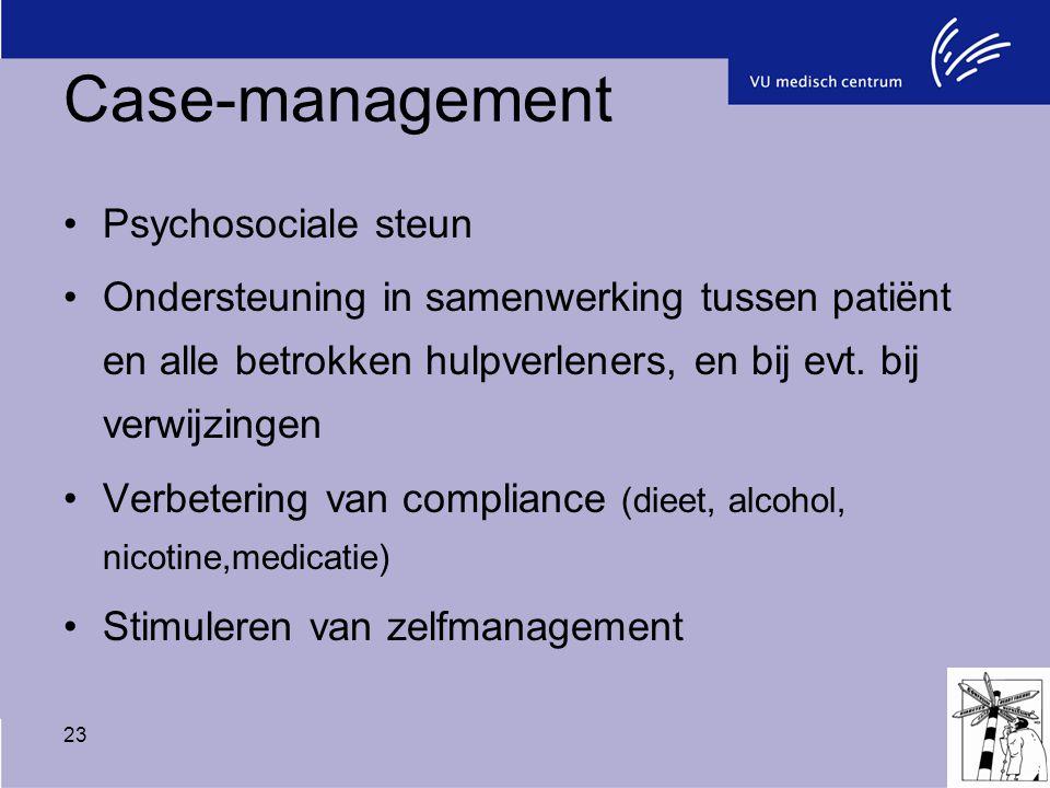 23 Case-management Psychosociale steun Ondersteuning in samenwerking tussen patiënt en alle betrokken hulpverleners, en bij evt. bij verwijzingen Verb