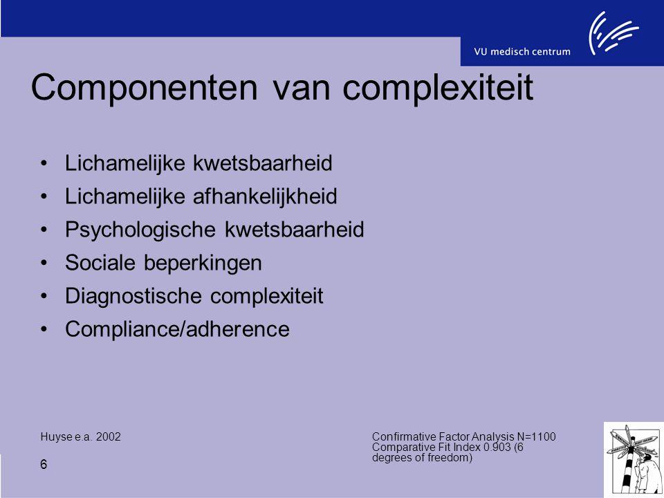 6 Componenten van complexiteit Lichamelijke kwetsbaarheid Lichamelijke afhankelijkheid Psychologische kwetsbaarheid Sociale beperkingen Diagnostische