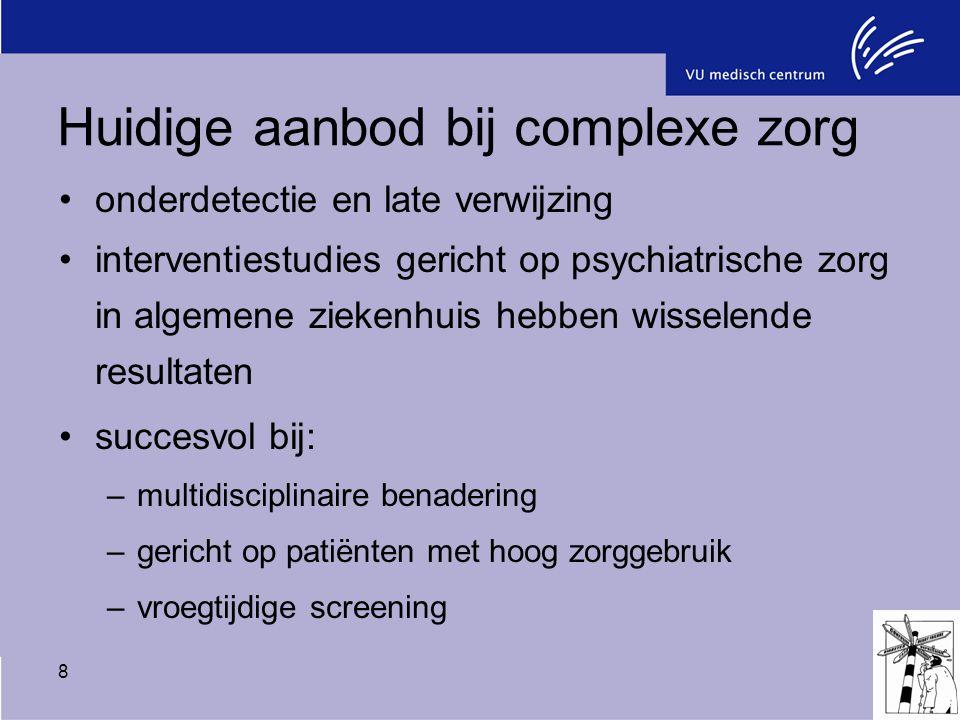 8 Huidige aanbod bij complexe zorg onderdetectie en late verwijzing interventiestudies gericht op psychiatrische zorg in algemene ziekenhuis hebben wi