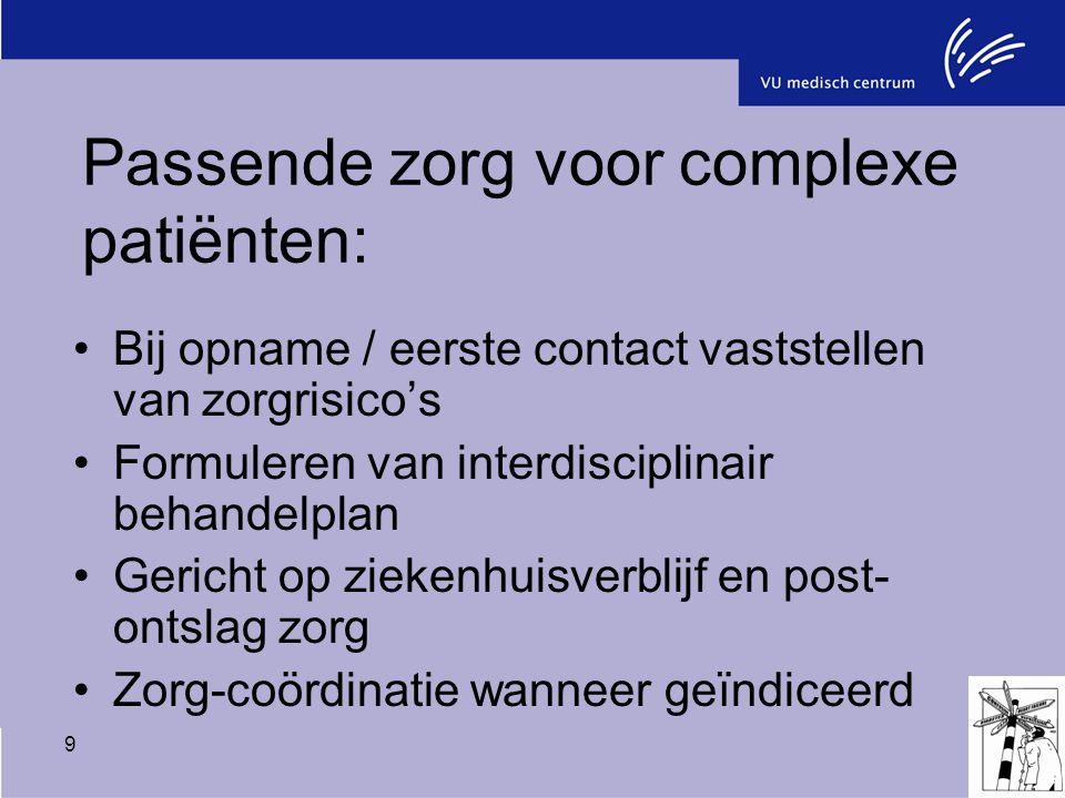 9 Passende zorg voor complexe patiënten: Bij opname / eerste contact vaststellen van zorgrisico's Formuleren van interdisciplinair behandelplan Gerich