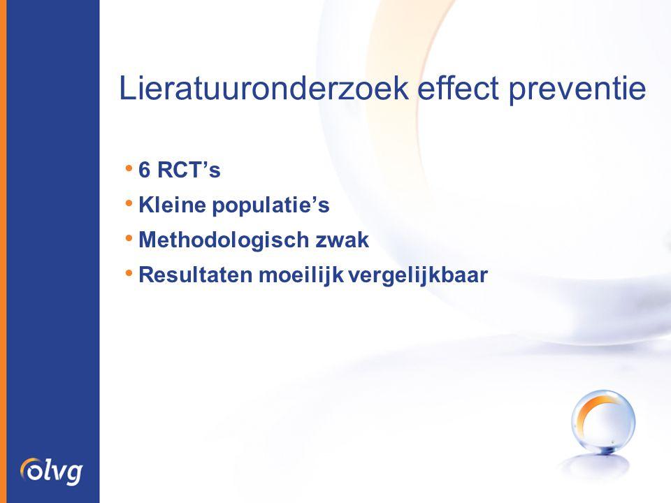 Lieratuuronderzoek effect preventie 6 RCT's Kleine populatie's Methodologisch zwak Resultaten moeilijk vergelijkbaar