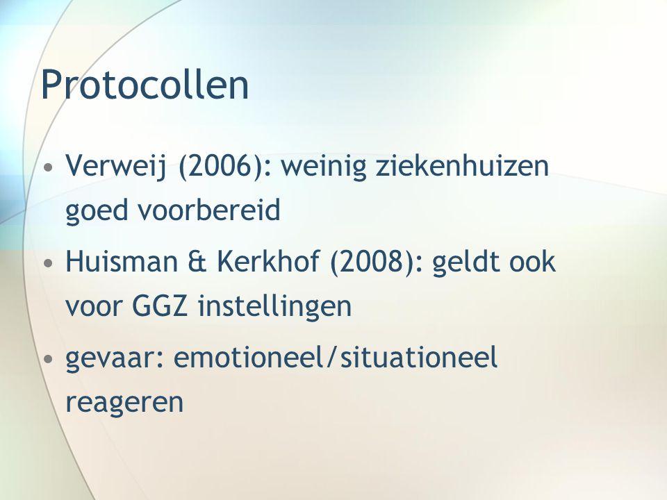 Protocollen Verweij (2006): weinig ziekenhuizen goed voorbereid Huisman & Kerkhof (2008): geldt ook voor GGZ instellingen gevaar: emotioneel/situation