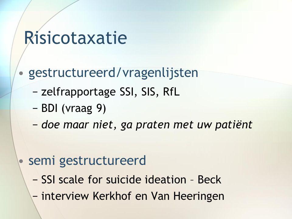 Risicotaxatie gestructureerd/vragenlijsten −zelfrapportage SSI, SIS, RfL −BDI (vraag 9) −doe maar niet, ga praten met uw patiënt semi gestructureerd −