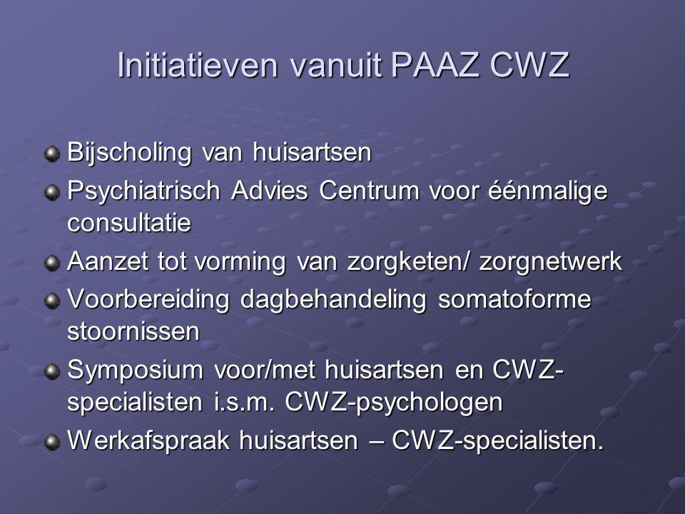 Initiatieven vanuit PAAZ CWZ Bijscholing van huisartsen Psychiatrisch Advies Centrum voor éénmalige consultatie Aanzet tot vorming van zorgketen/ zorg