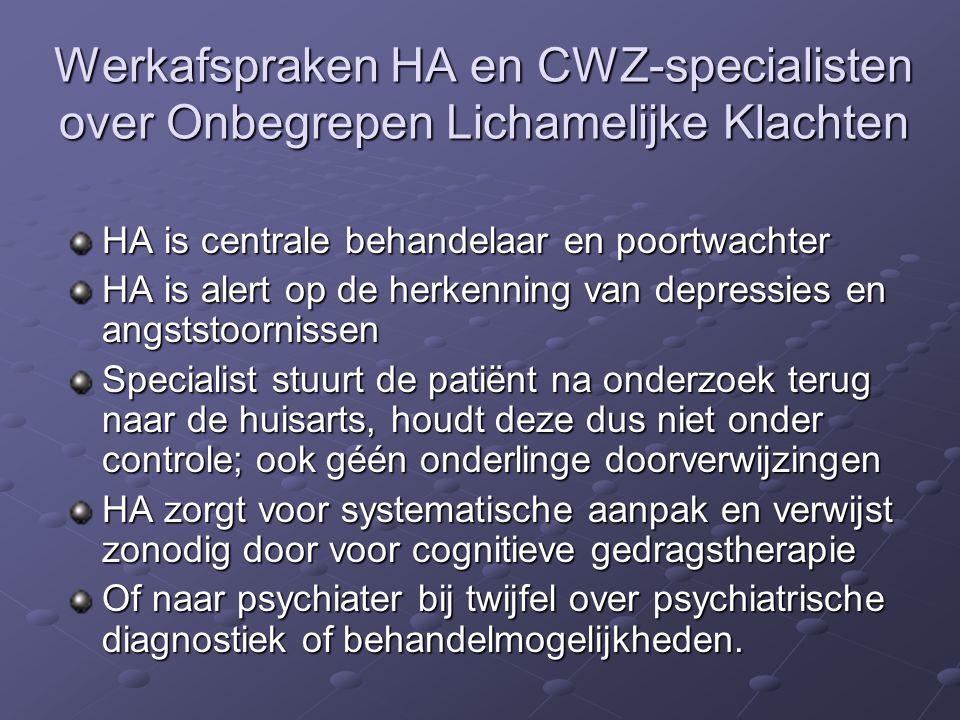 Werkafspraken HA en CWZ-specialisten over Onbegrepen Lichamelijke Klachten HA is centrale behandelaar en poortwachter HA is alert op de herkenning van