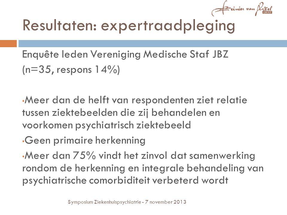 Resultaten: expertraadpleging Enquête leden Vereniging Medische Staf JBZ (n=35, respons 14%) Meer dan de helft van respondenten ziet relatie tussen zi