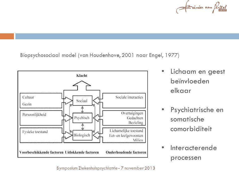 Lichaam en geest beïnvloeden elkaar Psychiatrische en somatische comorbiditeit Interacterende processen Biopsychosociaal model (van Houdenhove, 2001 naar Engel, 1977) Symposium Ziekenhuispsychiatrie - 7 november 2013