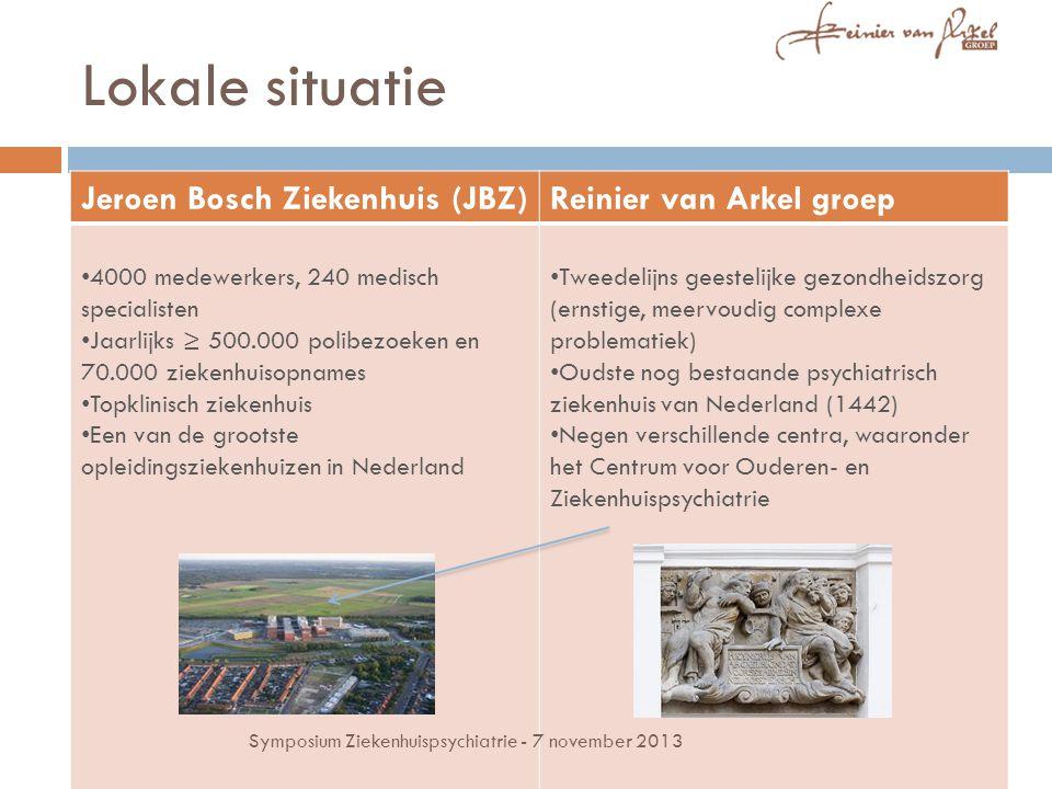 Lokale situatie Jeroen Bosch Ziekenhuis (JBZ)Reinier van Arkel groep 4000 medewerkers, 240 medisch specialisten Jaarlijks ≥ 500.000 polibezoeken en 70.000 ziekenhuisopnames Topklinisch ziekenhuis Een van de grootste opleidingsziekenhuizen in Nederland Tweedelijns geestelijke gezondheidszorg (ernstige, meervoudig complexe problematiek) Oudste nog bestaande psychiatrisch ziekenhuis van Nederland (1442) Negen verschillende centra, waaronder het Centrum voor Ouderen- en Ziekenhuispsychiatrie Symposium Ziekenhuispsychiatrie - 7 november 2013