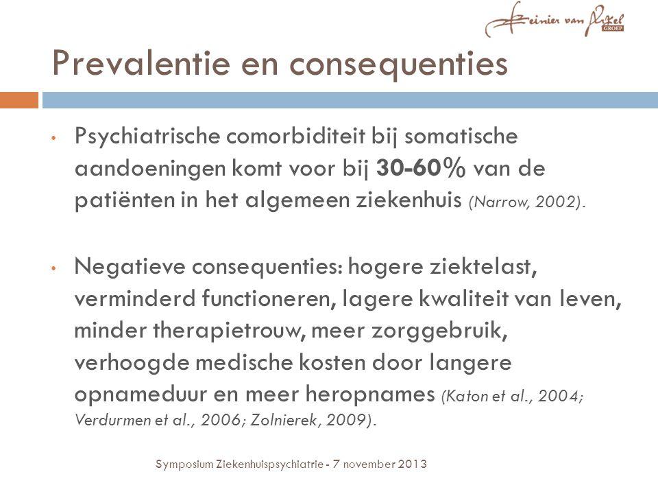 Praktijkprobleem 70.000 ziekenhuisopnames per jaar in het JBZ 700 nieuwe consulten per jaar = 1% Maar: 30-60% psychiatrische comorbiditeit.