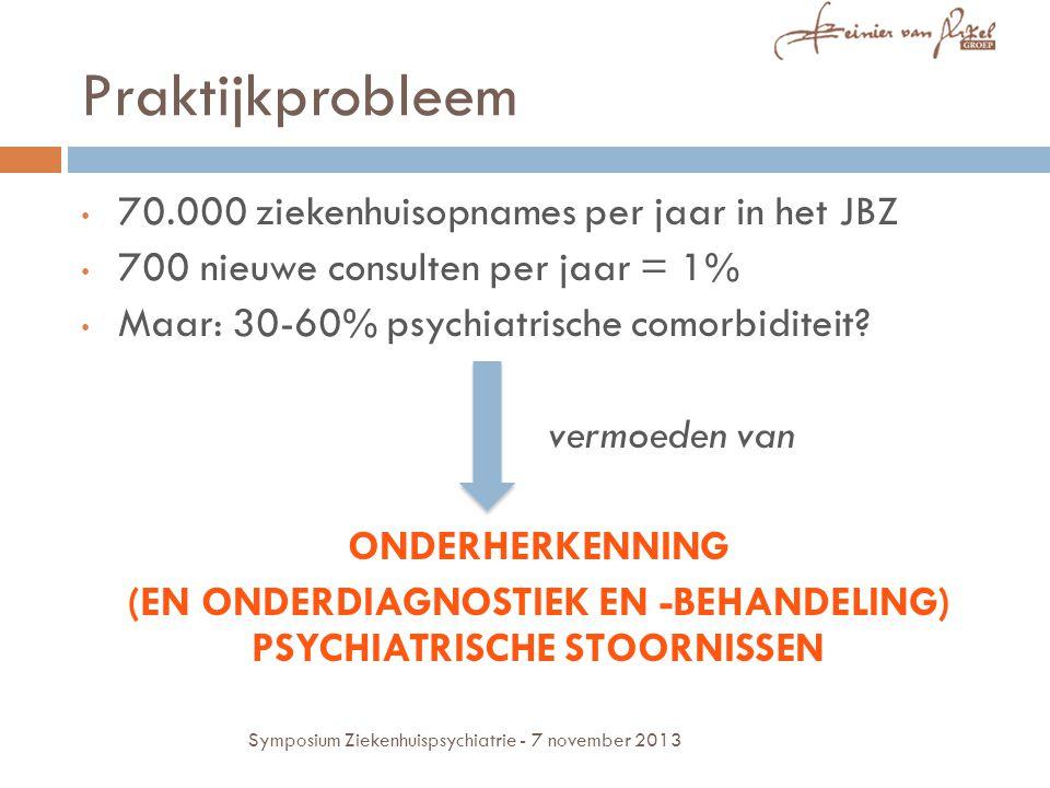 Praktijkprobleem 70.000 ziekenhuisopnames per jaar in het JBZ 700 nieuwe consulten per jaar = 1% Maar: 30-60% psychiatrische comorbiditeit? vermoeden