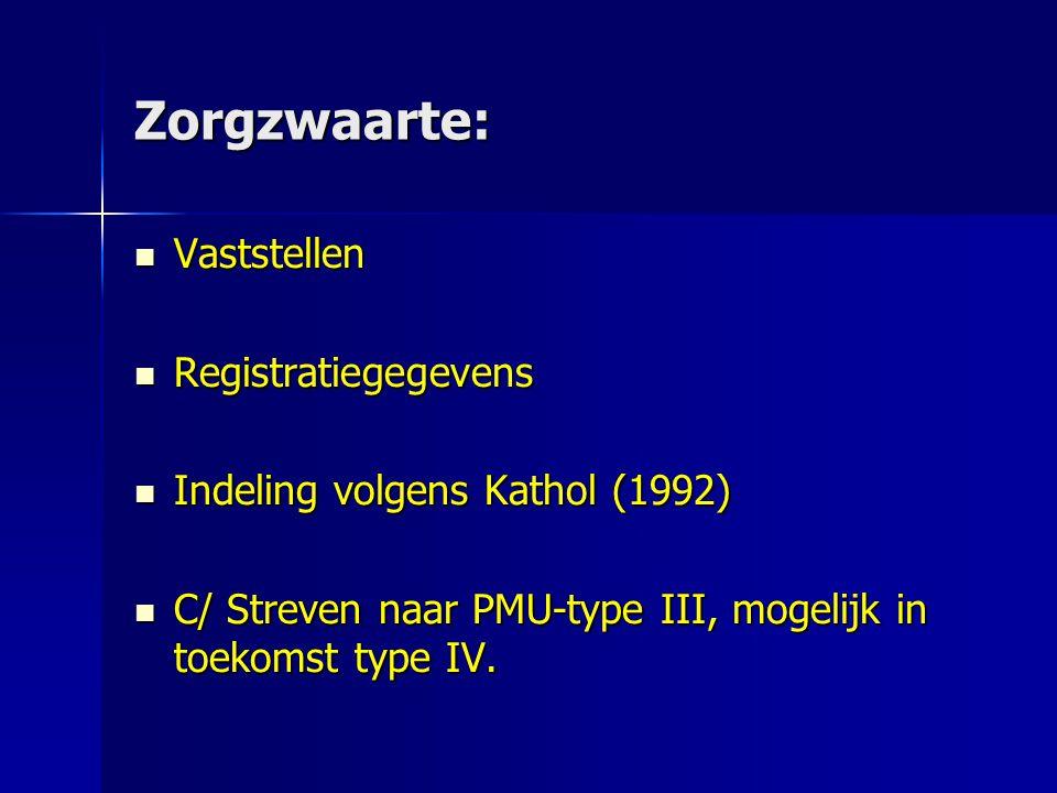 Zorgzwaarte: Vaststellen Vaststellen Registratiegegevens Registratiegegevens Indeling volgens Kathol (1992) Indeling volgens Kathol (1992) C/ Streven naar PMU-type III, mogelijk in toekomst type IV.