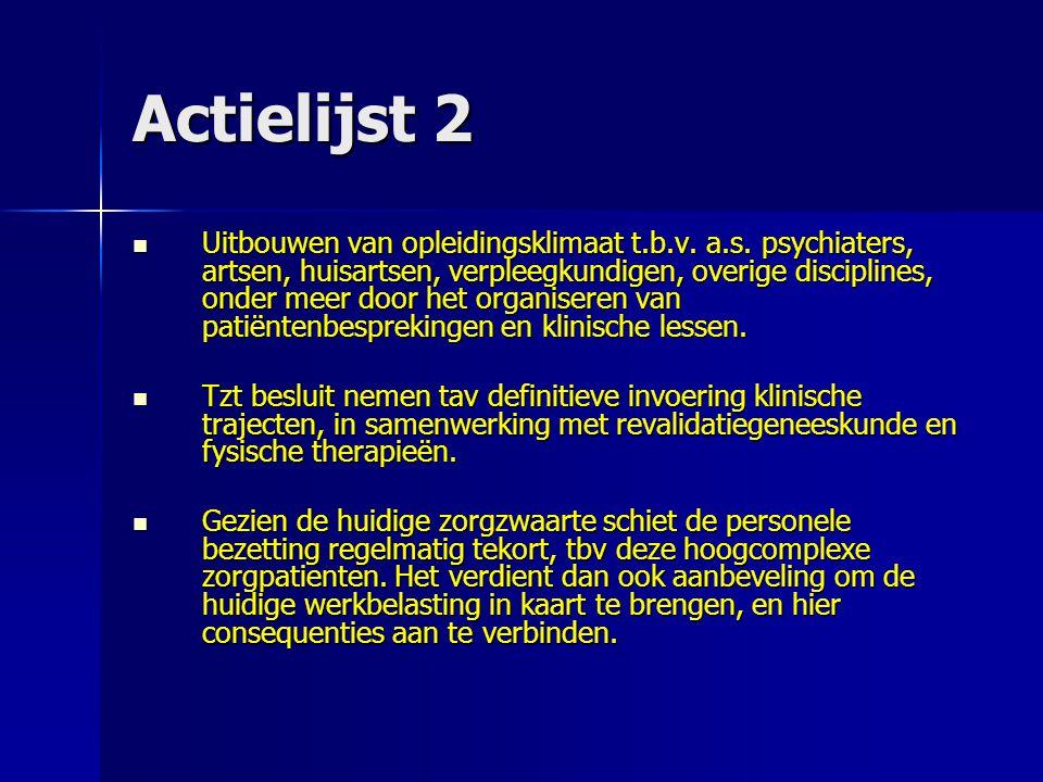 Actielijst 2 Uitbouwen van opleidingsklimaat t.b.v. a.s. psychiaters, artsen, huisartsen, verpleegkundigen, overige disciplines, onder meer door het o