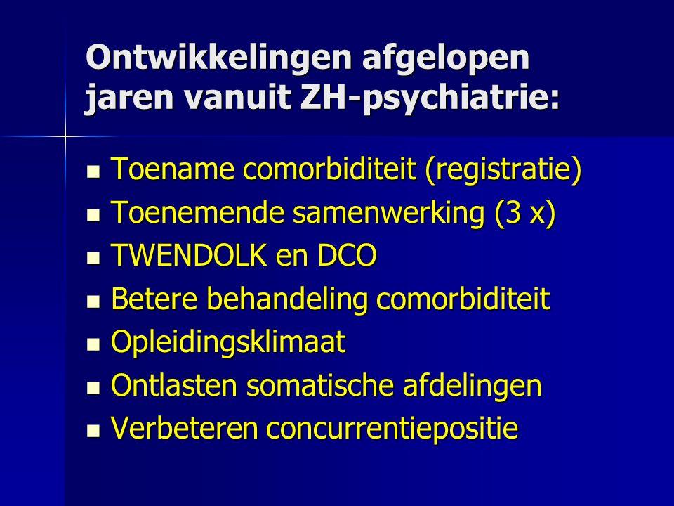 Ontwikkelingen afgelopen jaren vanuit ZH-psychiatrie: Toename comorbiditeit (registratie) Toename comorbiditeit (registratie) Toenemende samenwerking