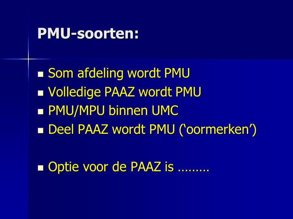 PMU-soorten: Som afdeling wordt PMU Som afdeling wordt PMU Volledige PAAZ wordt PMU Volledige PAAZ wordt PMU PMU/MPU binnen UMC PMU/MPU binnen UMC Deel PAAZ wordt PMU ('oormerken') Deel PAAZ wordt PMU ('oormerken') Optie voor de PAAZ is ……… Optie voor de PAAZ is ………