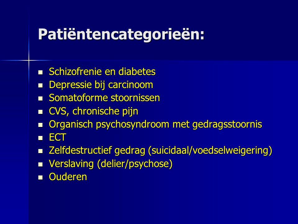 Patiëntencategorieën: Schizofrenie en diabetes Schizofrenie en diabetes Depressie bij carcinoom Depressie bij carcinoom Somatoforme stoornissen Somatoforme stoornissen CVS, chronische pijn CVS, chronische pijn Organisch psychosyndroom met gedragsstoornis Organisch psychosyndroom met gedragsstoornis ECT ECT Zelfdestructief gedrag (suicidaal/voedselweigering) Zelfdestructief gedrag (suicidaal/voedselweigering) Verslaving (delier/psychose) Verslaving (delier/psychose) Ouderen Ouderen