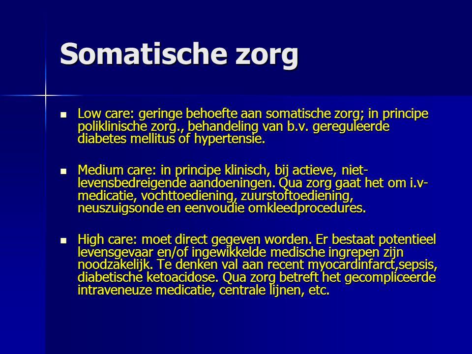 Somatische zorg Low care: geringe behoefte aan somatische zorg; in principe poliklinische zorg., behandeling van b.v. gereguleerde diabetes mellitus o
