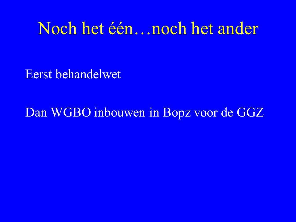 Noch het één…noch het ander Eerst behandelwet Dan WGBO inbouwen in Bopz voor de GGZ