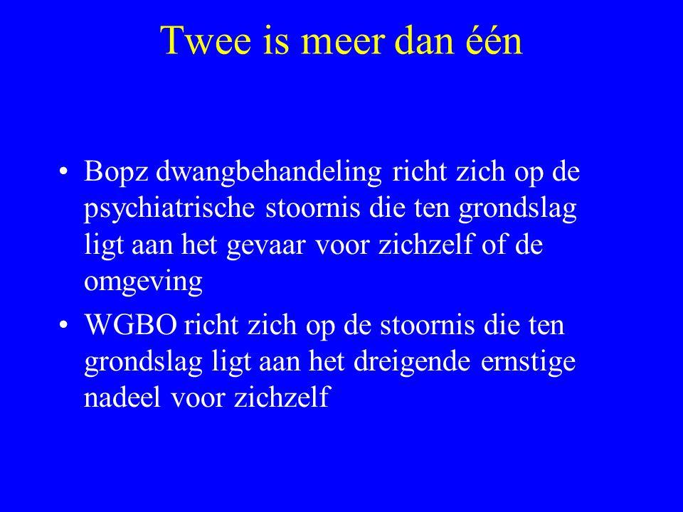 WGBO dwang naar Bopz dwang: NEE Bopz: geen ambulante dwangbehandeling mogelijk.