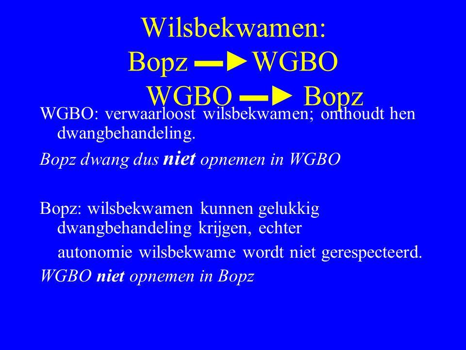 Wilsbekwamen: Bopz ▬► WGBO WGBO ▬► Bopz WGBO: verwaarloost wilsbekwamen; onthoudt hen dwangbehandeling.