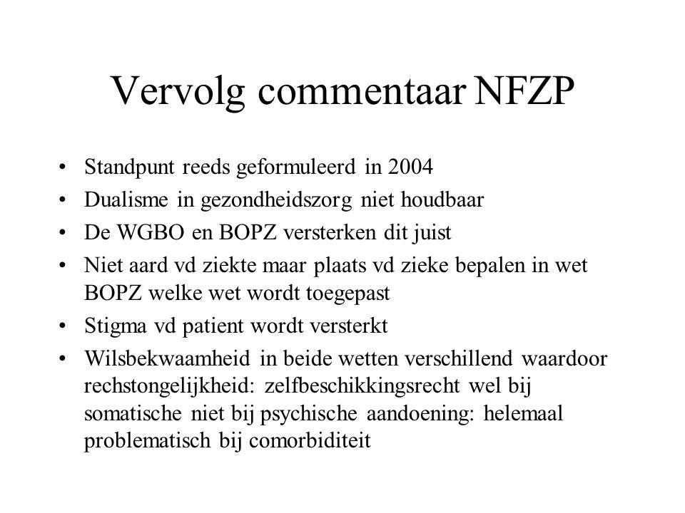 Vervolg commentaar NFZP Standpunt reeds geformuleerd in 2004 Dualisme in gezondheidszorg niet houdbaar De WGBO en BOPZ versterken dit juist Niet aard