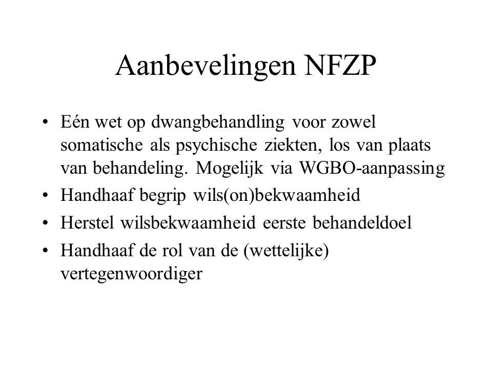 Aanbevelingen NFZP Eén wet op dwangbehandling voor zowel somatische als psychische ziekten, los van plaats van behandeling. Mogelijk via WGBO-aanpassi
