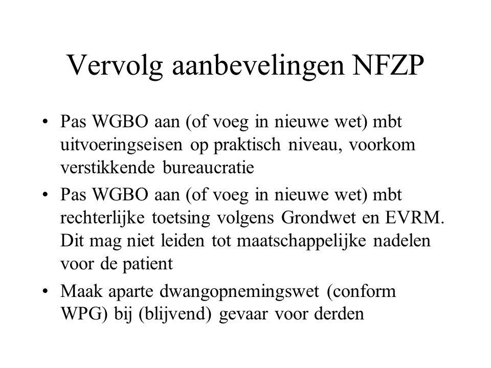 Vervolg aanbevelingen NFZP Pas WGBO aan (of voeg in nieuwe wet) mbt uitvoeringseisen op praktisch niveau, voorkom verstikkende bureaucratie Pas WGBO a