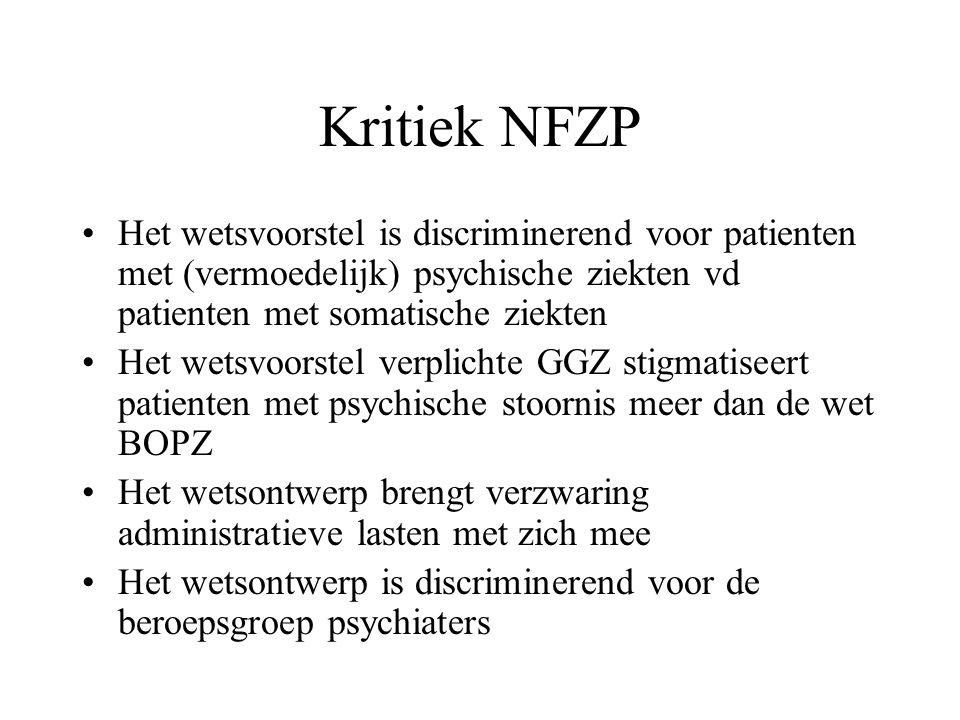 Kritiek NFZP Het wetsvoorstel is discriminerend voor patienten met (vermoedelijk) psychische ziekten vd patienten met somatische ziekten Het wetsvoors