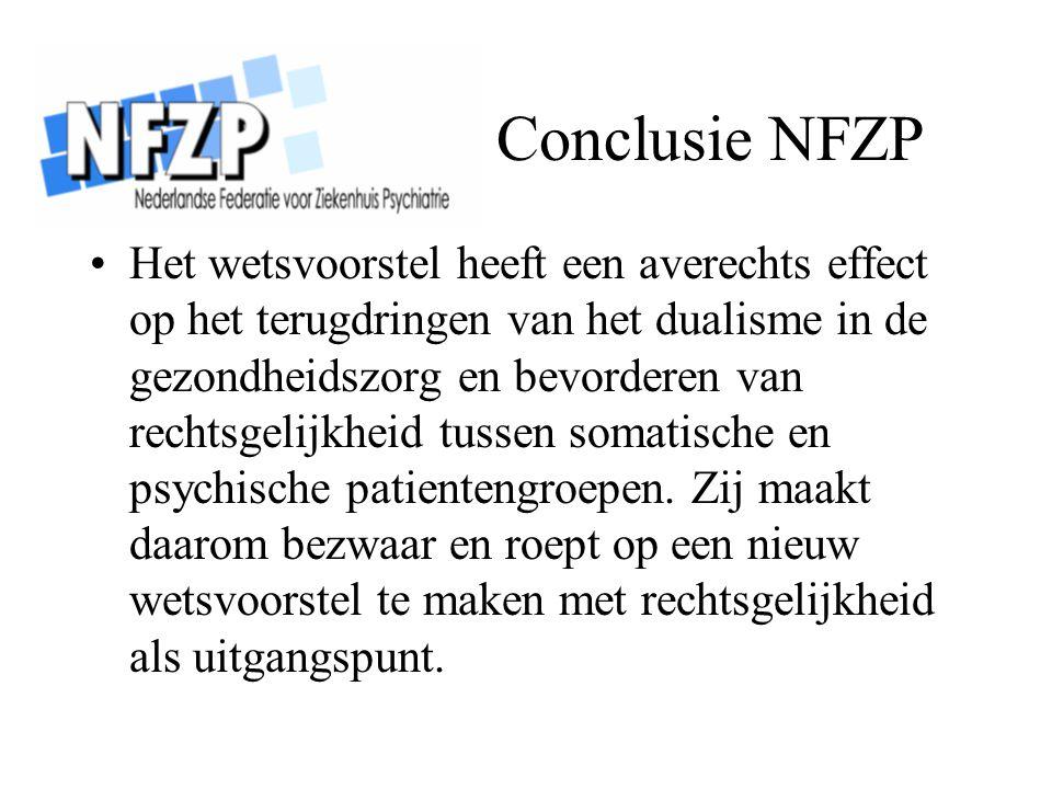 Conclusie NFZP Het wetsvoorstel heeft een averechts effect op het terugdringen van het dualisme in de gezondheidszorg en bevorderen van rechtsgelijkhe