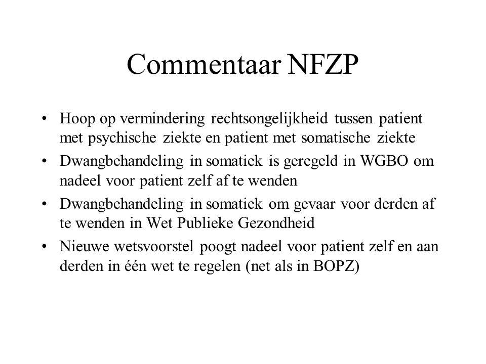 Commentaar NFZP Hoop op vermindering rechtsongelijkheid tussen patient met psychische ziekte en patient met somatische ziekte Dwangbehandeling in soma