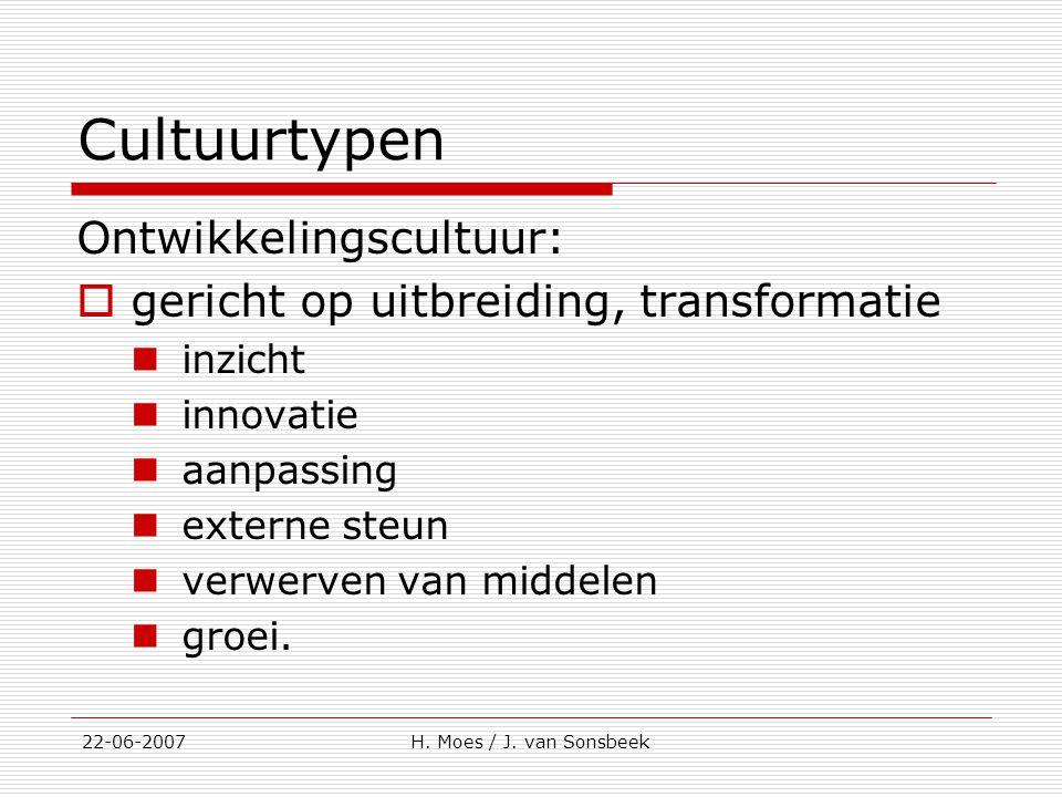 Cultuurtypen Ontwikkelingscultuur:  gericht op uitbreiding, transformatie inzicht innovatie aanpassing externe steun verwerven van middelen groei. 22