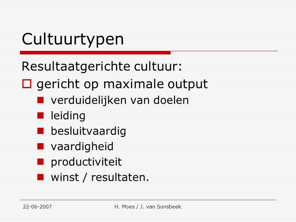 Cultuurtypen Resultaatgerichte cultuur:  gericht op maximale output verduidelijken van doelen leiding besluitvaardig vaardigheid productiviteit winst