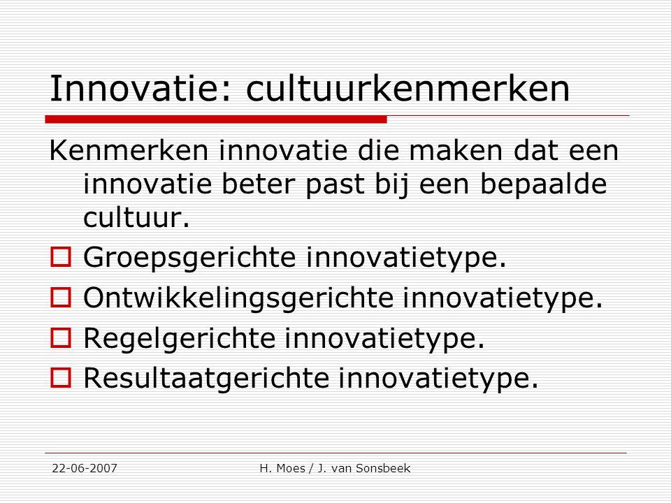 Innovatie: cultuurkenmerken Kenmerken innovatie die maken dat een innovatie beter past bij een bepaalde cultuur.  Groepsgerichte innovatietype.  Ont