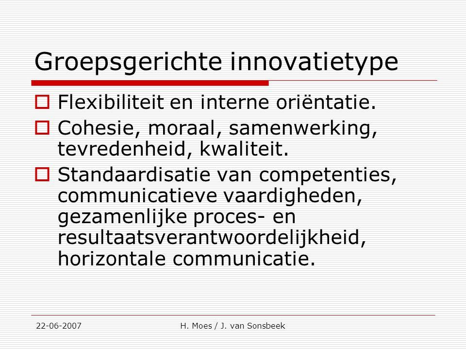 Groepsgerichte innovatietype  Flexibiliteit en interne oriëntatie.  Cohesie, moraal, samenwerking, tevredenheid, kwaliteit.  Standaardisatie van co