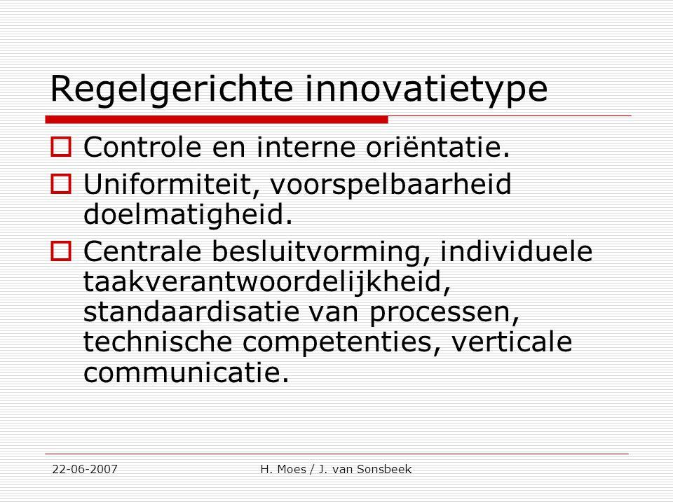 Regelgerichte innovatietype  Controle en interne oriëntatie.  Uniformiteit, voorspelbaarheid doelmatigheid.  Centrale besluitvorming, individuele t