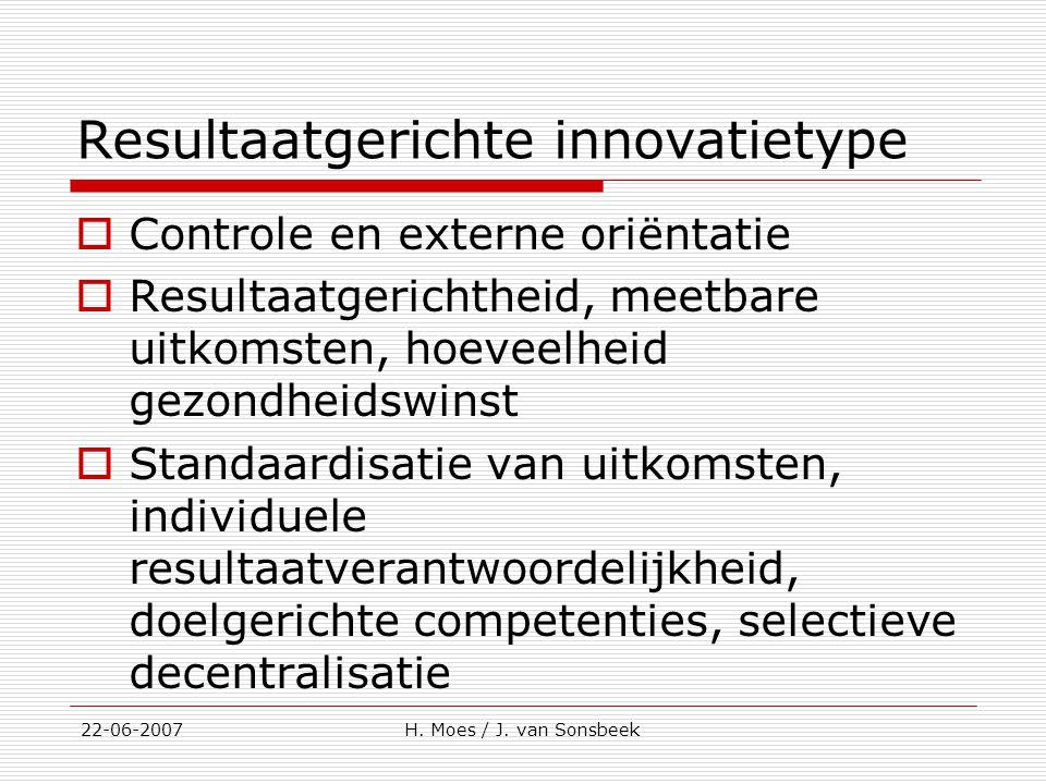 Resultaatgerichte innovatietype  Controle en externe oriëntatie  Resultaatgerichtheid, meetbare uitkomsten, hoeveelheid gezondheidswinst  Standaard