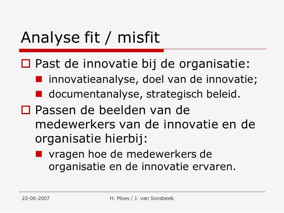 Analyse fit / misfit  Past de innovatie bij de organisatie: innovatieanalyse, doel van de innovatie; documentanalyse, strategisch beleid.  Passen de