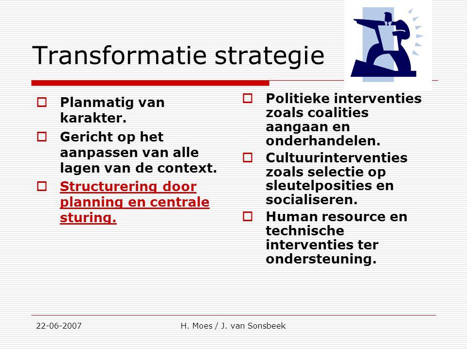 Transformatie strategie  Planmatig van karakter.  Gericht op het aanpassen van alle lagen van de context.  Structurering door planning en centrale