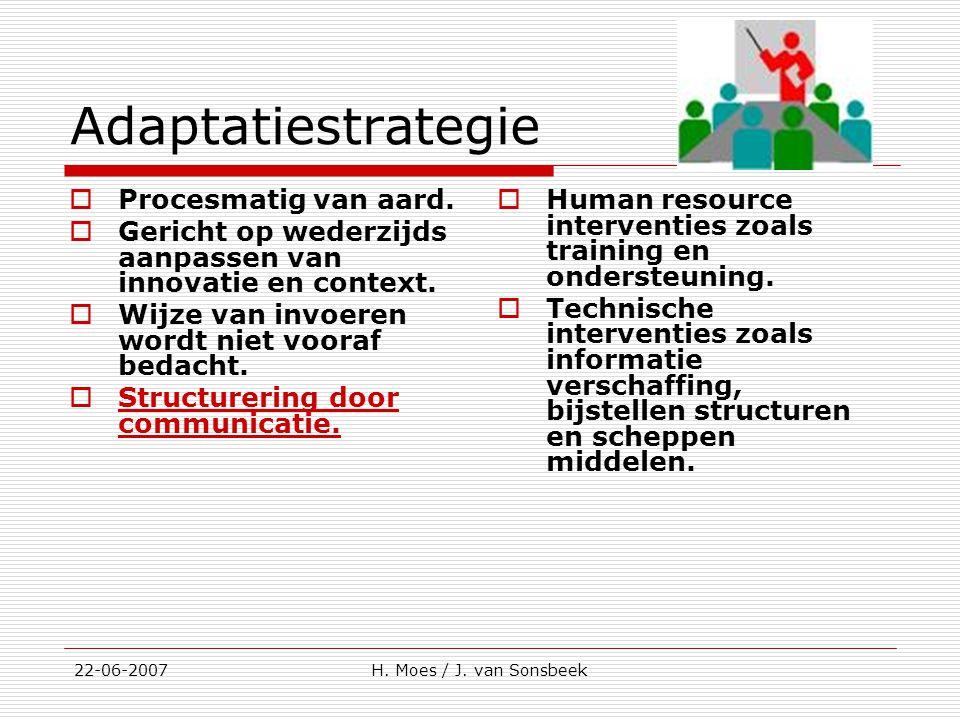 Adaptatiestrategie  Procesmatig van aard.  Gericht op wederzijds aanpassen van innovatie en context.  Wijze van invoeren wordt niet vooraf bedacht.