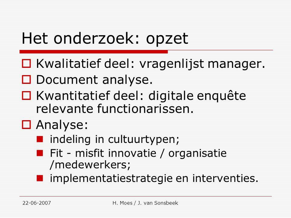 Het onderzoek: opzet  Kwalitatief deel: vragenlijst manager.  Document analyse.  Kwantitatief deel: digitale enquête relevante functionarissen.  A