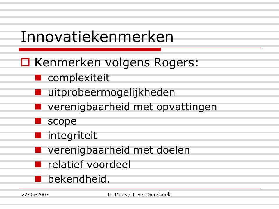 Innovatiekenmerken  Kenmerken volgens Rogers: complexiteit uitprobeermogelijkheden verenigbaarheid met opvattingen scope integriteit verenigbaarheid