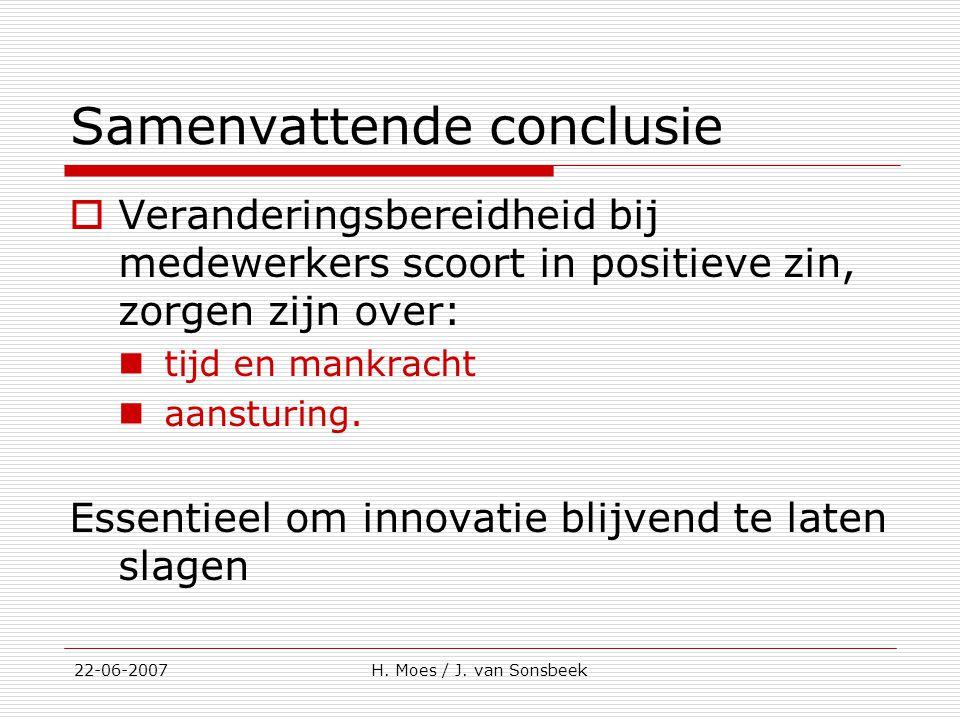 Samenvattende conclusie  Veranderingsbereidheid bij medewerkers scoort in positieve zin, zorgen zijn over: tijd en mankracht aansturing. Essentieel o