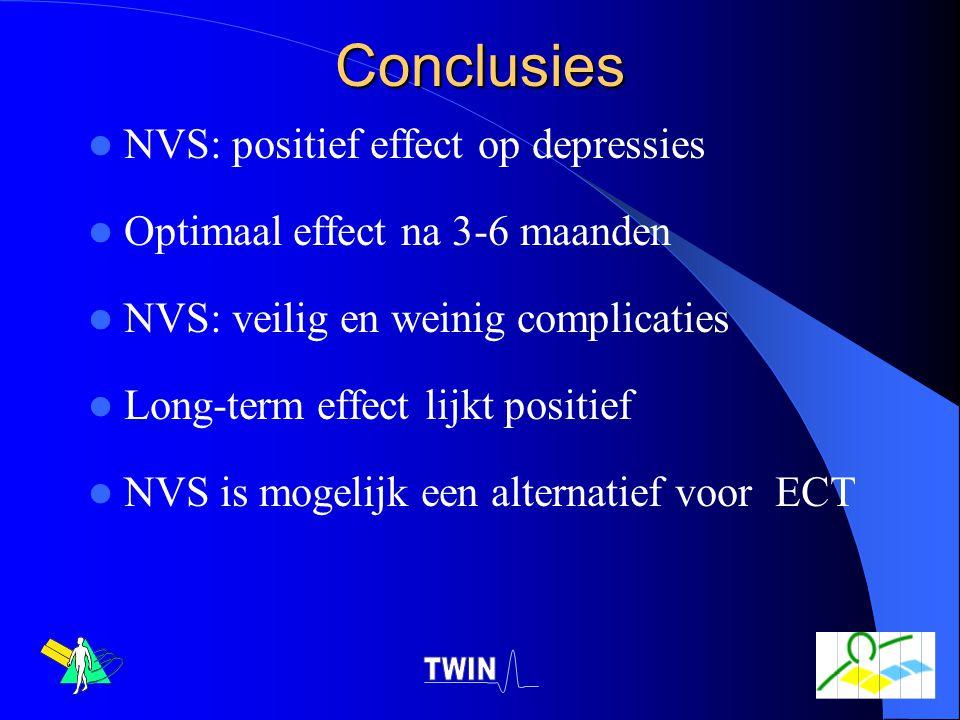 Conclusies NVS: positief effect op depressies Optimaal effect na 3-6 maanden NVS: veilig en weinig complicaties Long-term effect lijkt positief NVS is