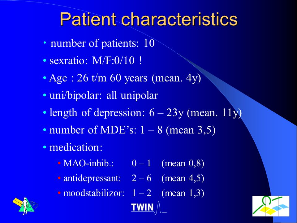Patient characteristics number of patients: 10 sexratio: M/F:0/10 .