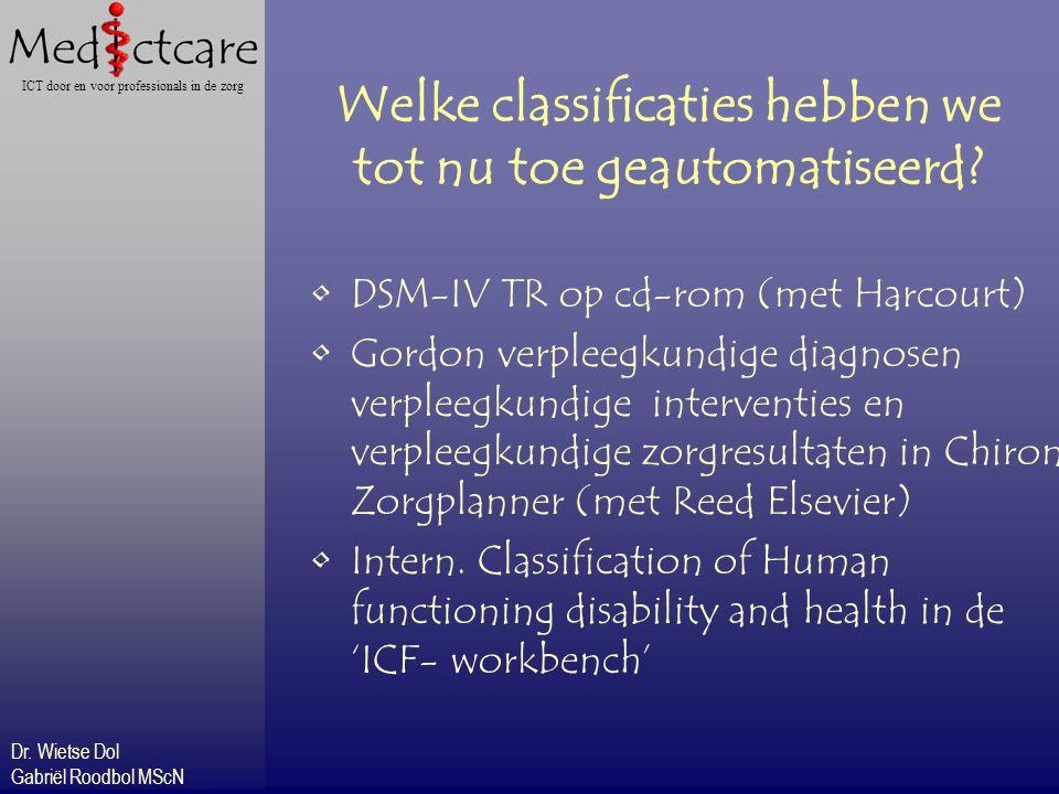 Dr. Wietse Dol Gabriël Roodbol MScN ICT door en voor professionals in de zorg Welke classificaties hebben we tot nu toe geautomatiseerd? DSM-IV TR op