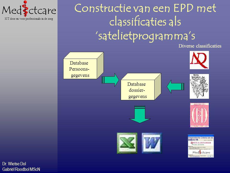 Dr. Wietse Dol Gabriël Roodbol MScN ICT door en voor professionals in de zorg Constructie van een EPD met classificaties als 'satelietprogramma's Data