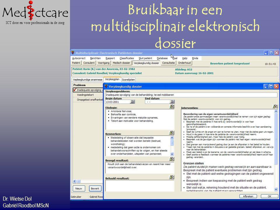 Dr. Wietse Dol Gabriël Roodbol MScN ICT door en voor professionals in de zorg Bruikbaar in een multidisciplinair elektronisch dossier