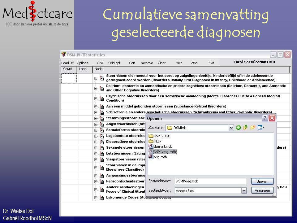 Dr. Wietse Dol Gabriël Roodbol MScN ICT door en voor professionals in de zorg Cumulatieve samenvatting geselecteerde diagnosen
