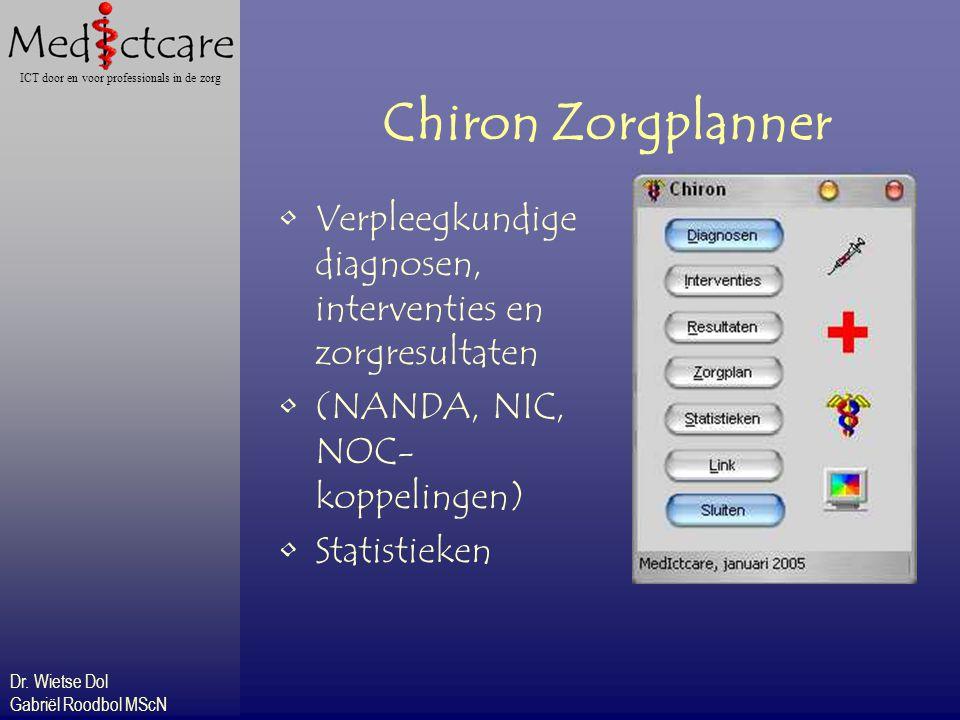 Dr. Wietse Dol Gabriël Roodbol MScN ICT door en voor professionals in de zorg Chiron Zorgplanner Verpleegkundige diagnosen, interventies en zorgresult