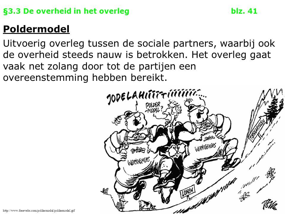 §3.3 De overheid in het overlegblz. 41 Poldermodel Uitvoerig overleg tussen de sociale partners, waarbij ook de overheid steeds nauw is betrokken. Het
